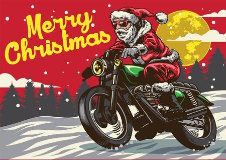 stile di disegno a mano di babbo natale in sella a una moto d'epoca
