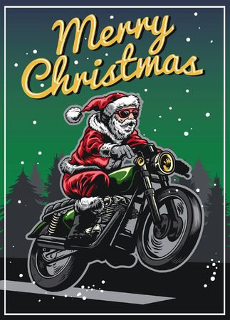 vintage design of santa claus riding vintage motorcycle