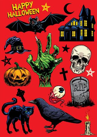 set of hand drawn objects of halloween in full colored Illusztráció