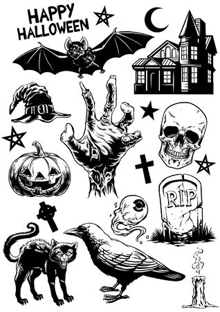 set of hand drawing halloween objects in black and white Illusztráció