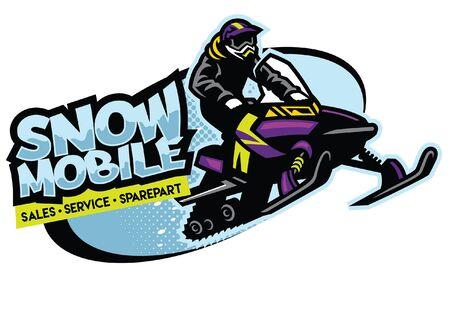 jumping man riding snowmobile Иллюстрация