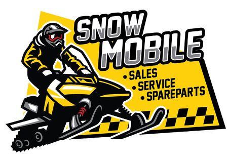 design of snowmobile sign Иллюстрация