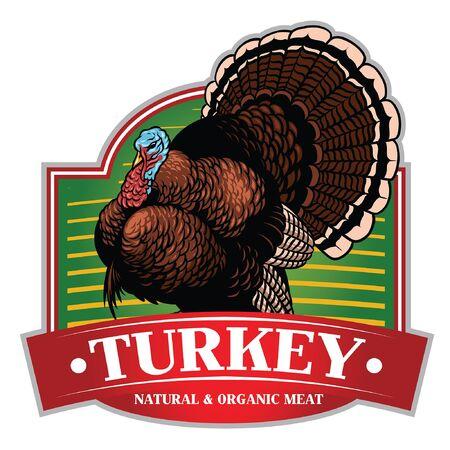 hand drawn wild turkey in label style design
