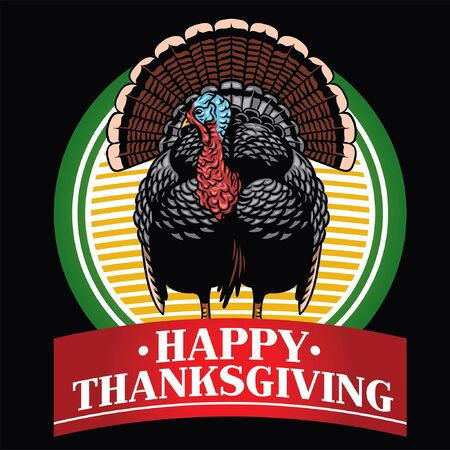 greeting of happy thanksgiving with wild turkey