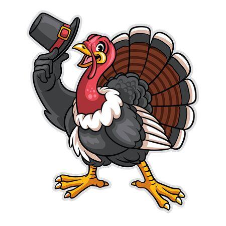 personnage de dessin animé de dinde de Thanksgiving