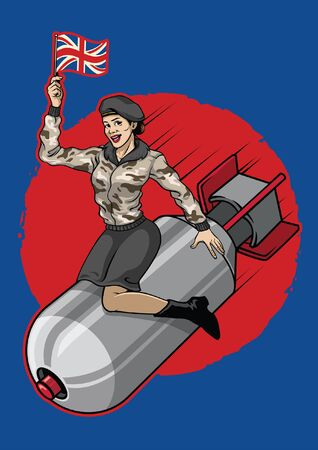 sexy pin up britain military girl sits on the nuclear bomb