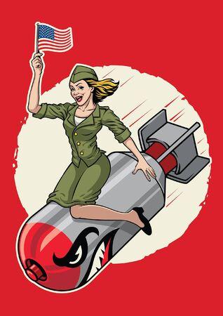 Pin up USA militar chica sentada sobre la bomba nuclear