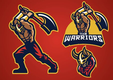 set character mascot of viking warrior