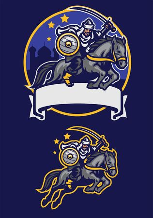 set of arabian mascot riding horse Çizim