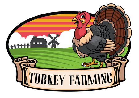 turkey farming design with turkey bird in cartoon