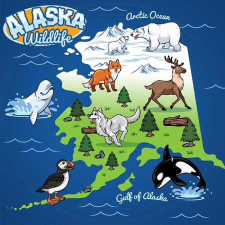 alaskan wild life map Vectores