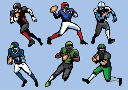 set bundle of american football player Illustration
