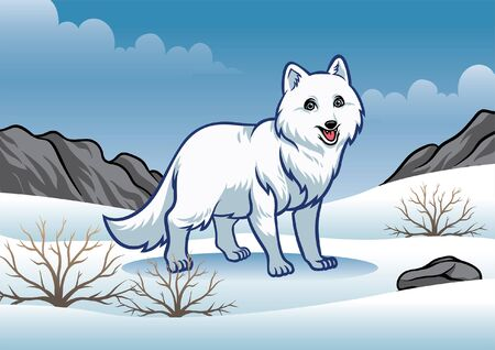 white fox in the middle of snowy nature