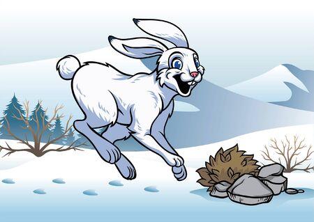 lièvre sauteur en hiver neigeux Vecteurs