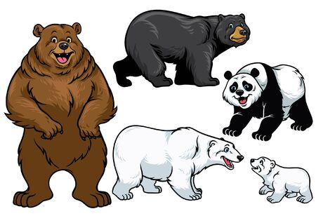 set of various bear in cartoon style