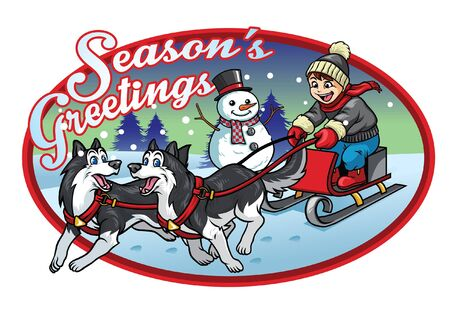 season's greeting design with kid riding sled dog Illustration