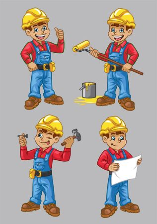 construction worker cartoon in various pose