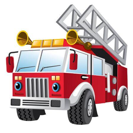 caricatura, de, camión de bomberos