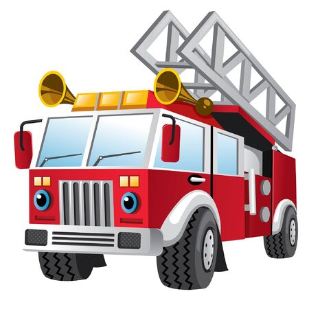 cartoon of fire fighter truck