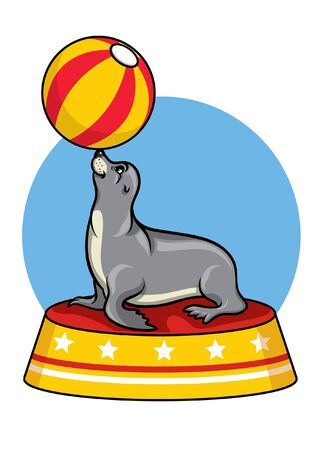circus seal playing ball 向量圖像