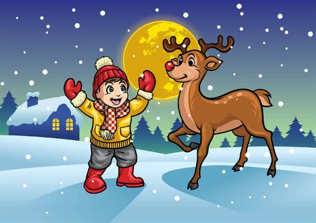happy kid and deer in the middle of snowy winter night