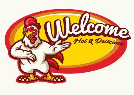 chicken cartoon mascot welcoming Stock Illustratie