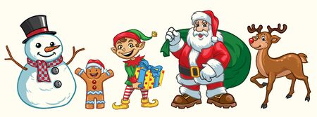 cartoon christmas character in bundle