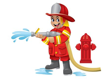 cheerful kid on fire fighter costume