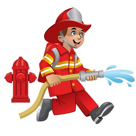 happy cheerful kid wearing fire fighter uniform