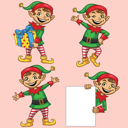 christmas elf character in various poses