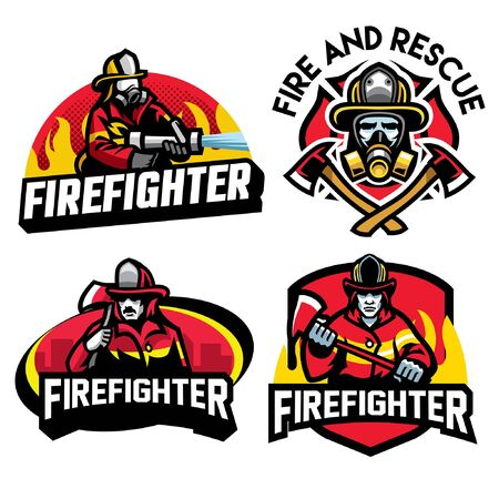 set of firefighter badge designs 向量圖像