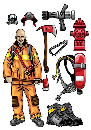 set of firefighter objects