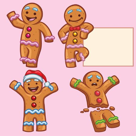 set of cartoon of gingerbread character