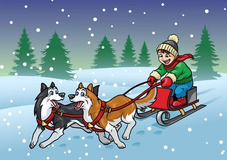 happy kid riding the sleigh dog
