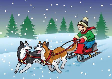 happy kid riding the sleigh dog