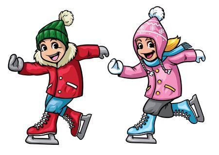 couple children playing ice skating Vector Illustratie
