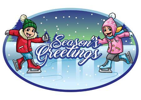 christmas season's greetings kids playing ice skating