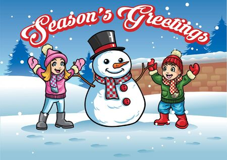 happy cheerful kids and snowman greeting christmas
