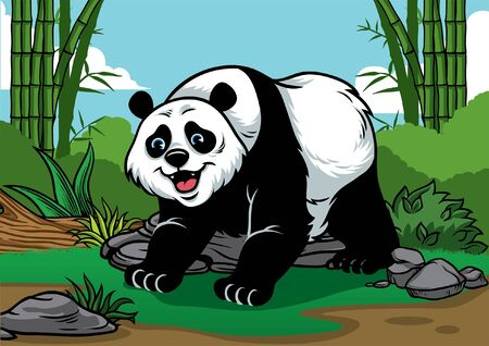 happy giant panda in the bamboo forest