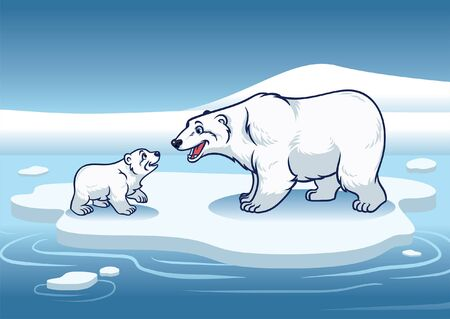 polar bear and her cub in the top of the ice 向量圖像