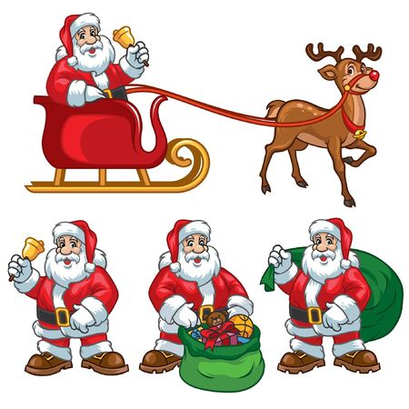santa claus cartoon set
