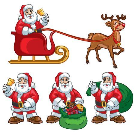 santa claus cartoon set