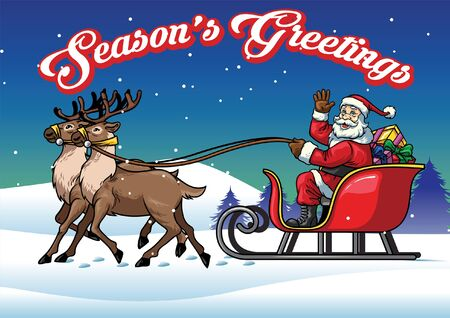 christmas season's greeting design with santa claus riding the sleigh Illustration