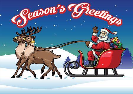Weihnachtsgrußdesign mit dem Weihnachtsmann, der den Schlitten fährt Vektorgrafik