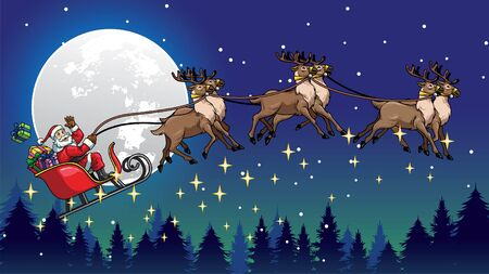 night of christmas with santa claus flying ride the the sleigh pulled by the deers 일러스트