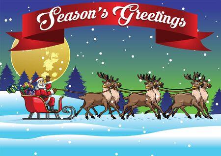christmas greeting card design of santa claus riding the sled