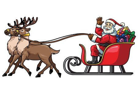 cartoon of santa claus riding the sled of deer Illustration
