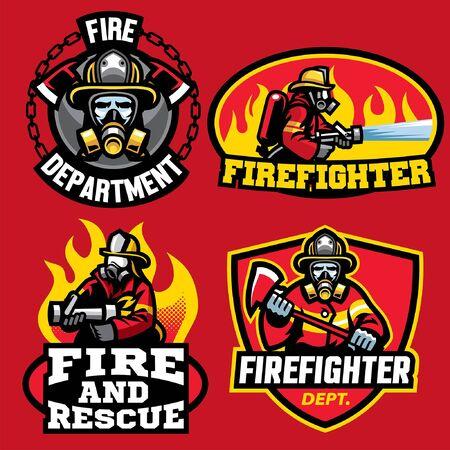 badges bundle set of fire fighter design