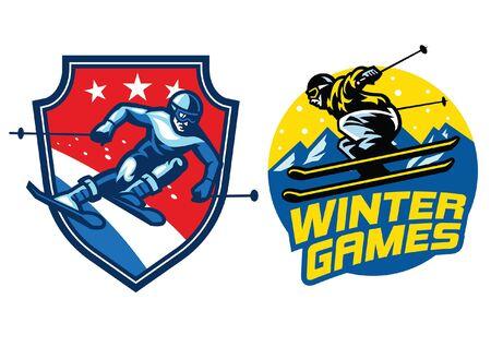 winter games ski sport badges