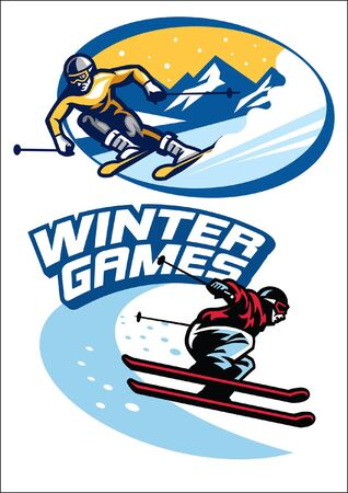 winter games t-shirt design in bundle 向量圖像
